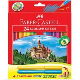 Lápis de Cor Estojo Sextavado com 24 cores + 2 canetinhas - Faber Castell
