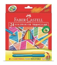 Lápis de Cor Estojo Triangular 24 cores + 2 canetinhas Faber Castell GERALSHOPPING