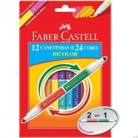 Canetinha Bicolor 12 Canetas 24 Cores Faber Castell GERALSHOPPING