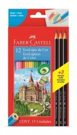 Lápis de Cor 12 Cores Sextavado + 3 Lápis Grafite Faber Castell GERALSHOPPING
