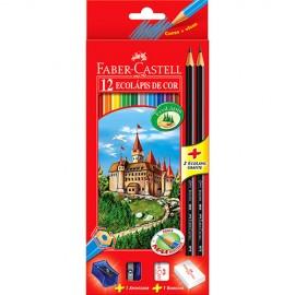 Lápis de Cor 12 Cores Sextavado + 2 Lápis + 1 Apontador + 1 Borracha Faber Castell GERALSHOPPING