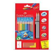 Lápis de Cor Faber Castell Grip Aquarelável  12 Cores Grátis Apontador, Borravha, 2 EcoLápi e Pincel GERALSHOPPING