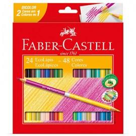 Lápis de Cor 48 cores c/ 24 lápis bicolor 120624g Faber Castell GeralShopping